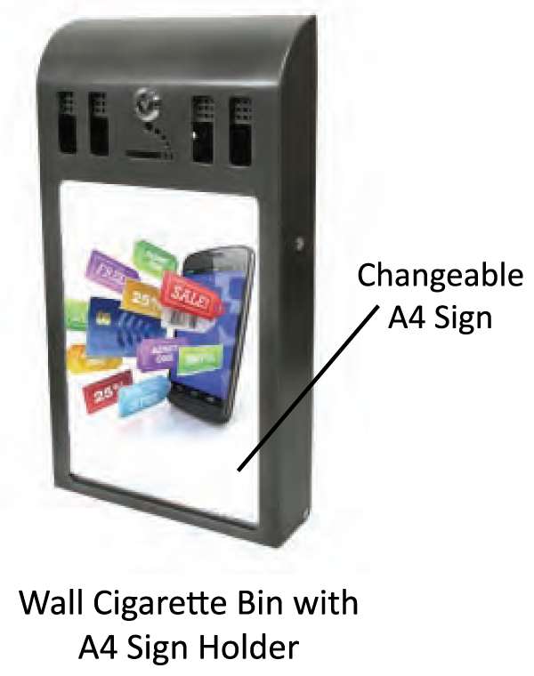 Wall Cigarette Bin with A4 Sign Holder - uClick Solutions