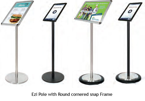 Round Cornered Snap Frame on EZi Pole - uClick Solutions