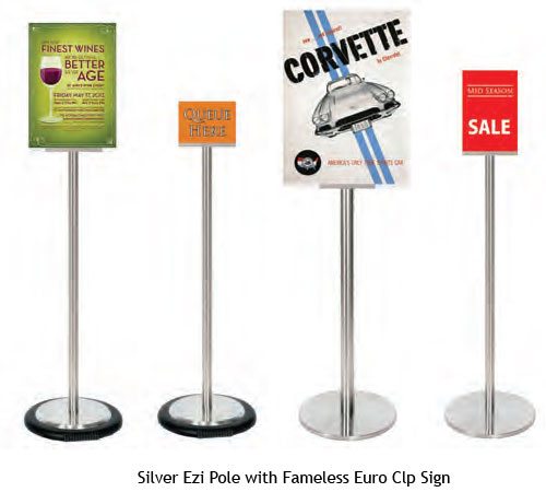 Frameless Euro Clip Sign Holder on Silver Ezi Pole - uClick Solutions