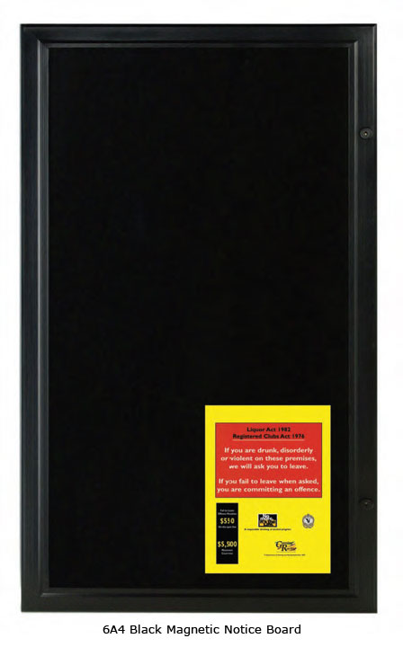 Black Lockable Magnetic Notice Board - uClick Solutions