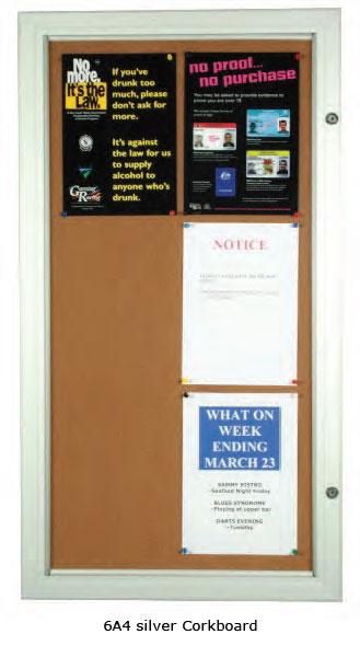 Silver Lockable Cork Notice Board - uClick Solutions