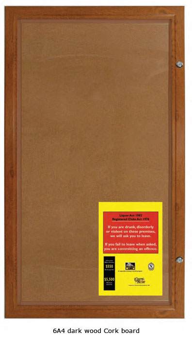 Dark Wood Finish Lockable Cork Notice Board - uClick Solutions