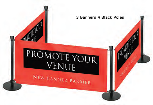 Banner Barrier on Black Ezi Pole
