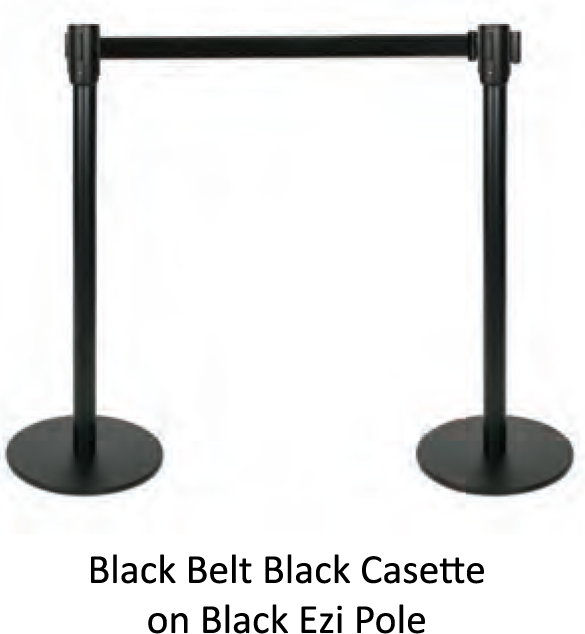 Black Retractable Barrier Pole - uClick Solutions