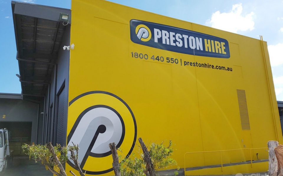 Preston Hire advertisement outside the office