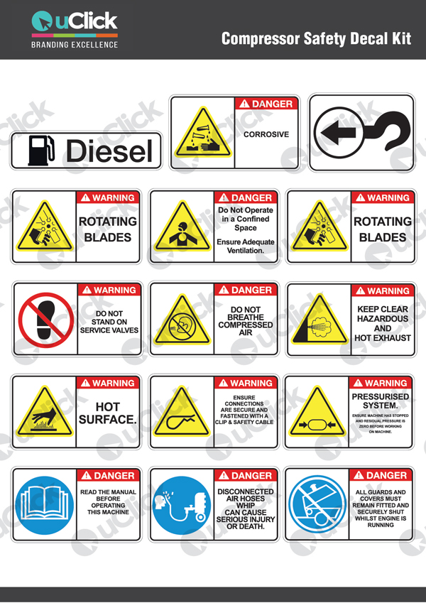 Compressor-Safety-Decal-Kit