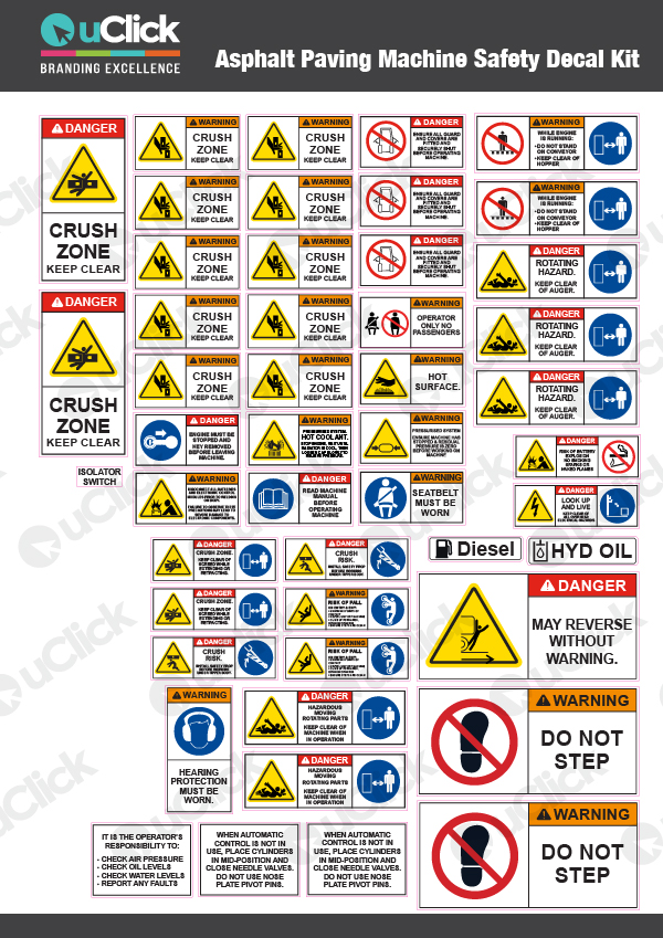 Asphalt Paving Machine Safety Decal Kit