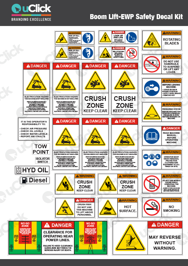 Boom Lift EWP Safety Decal Kit