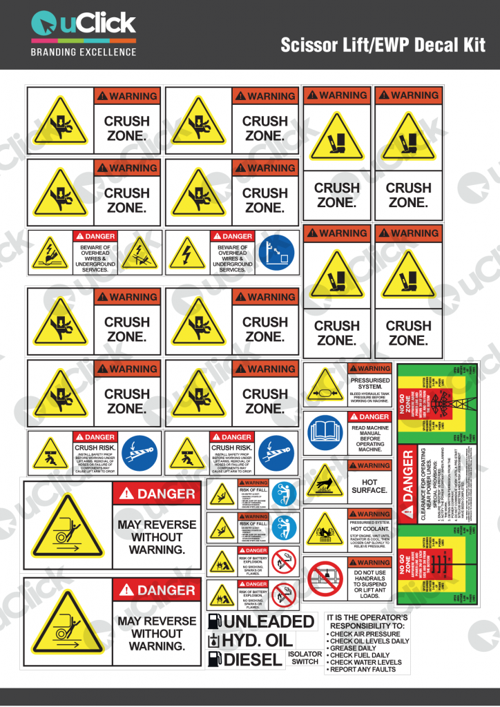 Scissor Lift EWP Decal Kit